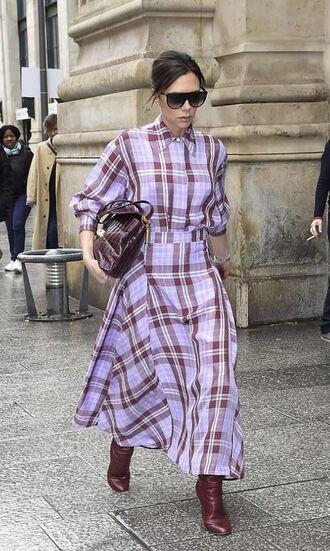 skirt shirt plaid boots victoria beckham sunglasses bag midi skirt two-piece