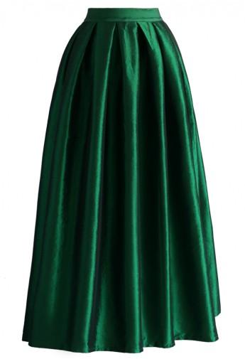 La diva pleated maxi full skirt in green