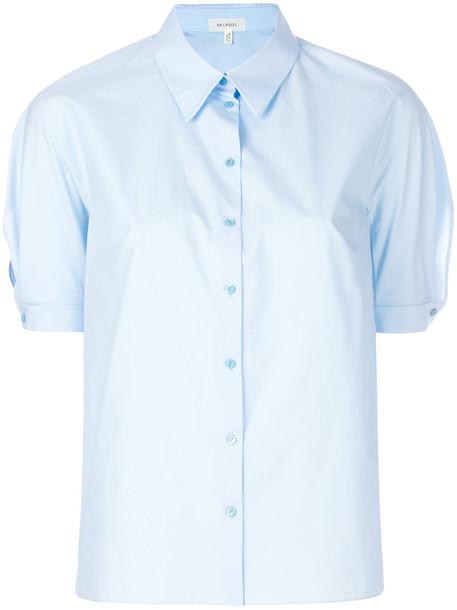 DELPOZO shirt short women cotton blue top