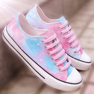 shoes galaxy pink blue pastel purple sneakers pretty cute