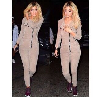 jumpsuit kylie jenner summer summer outfits spring suede tan nude khaki jumper bodysuit casual fashion