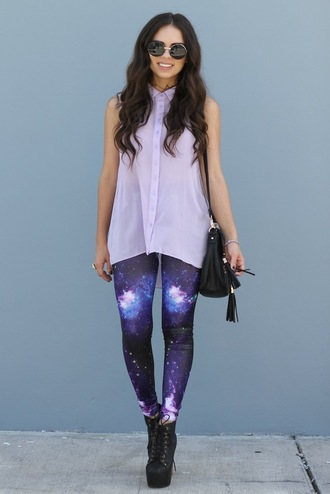 nany's klozet t-shirt bag shoes jewels sunglasses pants galaxy print leggings galaxy leggings white blouse high heels