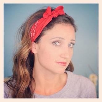 hair accessory headband bandana red white