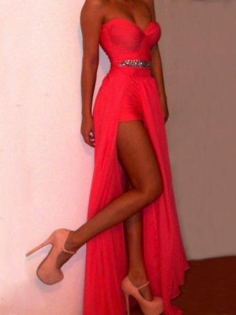 Charming Coral Chiffon Sweetheart Neckline Floor Length Prom Dress, Evening Dress [B00211] - $179.99 : 24inshop