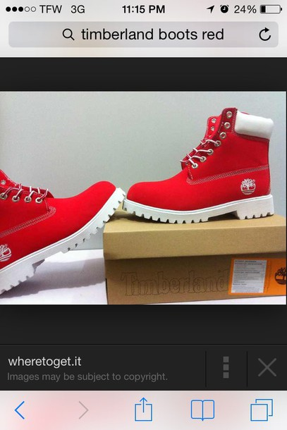shoes red and white boots timberland