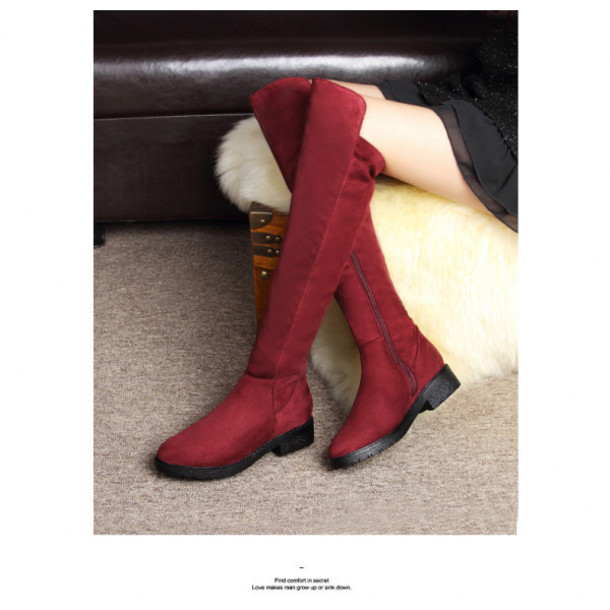 09434b1a9c0 shoes boots red burgundy burgundy shoes over knee boots knee high boots  winter outfits sexy sexy