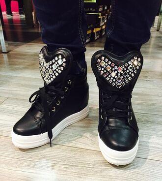 shoes sneakers heart black diamonds sequins big tongue mens shoes