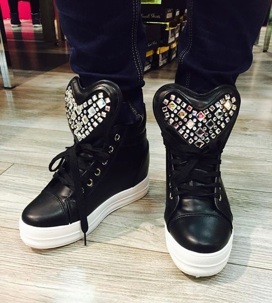 shoes sneakers heart black diamonds sequins big tongue mens shoes