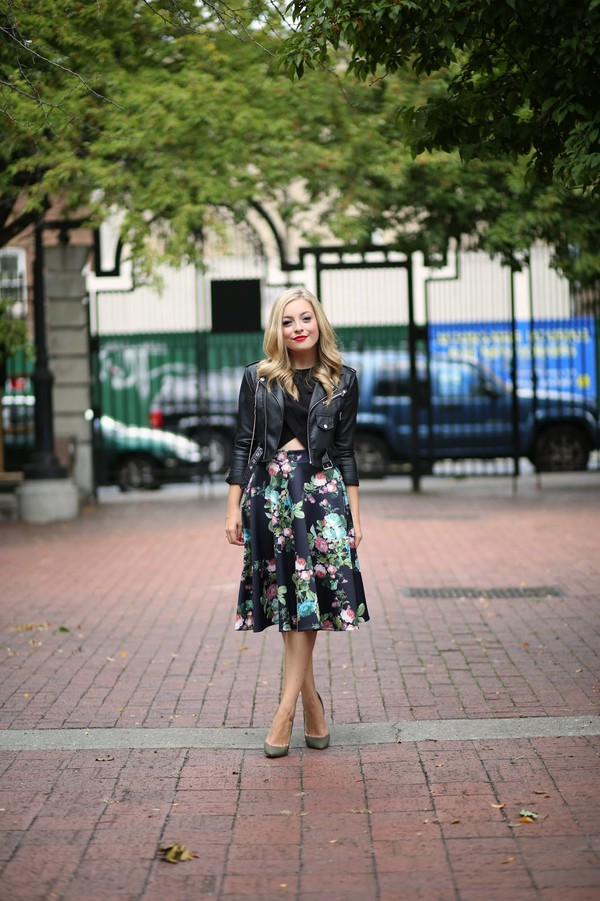 rachmartino blogger top jacket bag floral midi skirt midi floral skirt