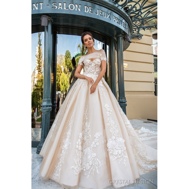 Crystal Design 2017 Emilia Tulle Embroidery Off-the-shoulder Sweet Champagne Royal Train Ball Gown Short Sleeves Bridal Gown - Rich Your Wedding Day