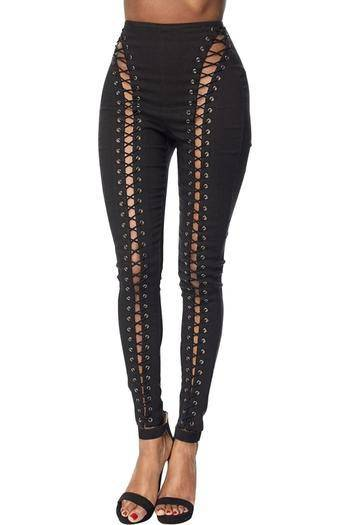 Black Laced Up Jeggings