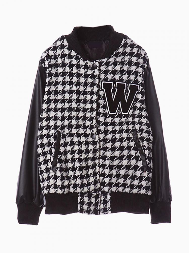 Houndstooth Duffle Baseball Jacket Contrast Leather Look Panel | Choies