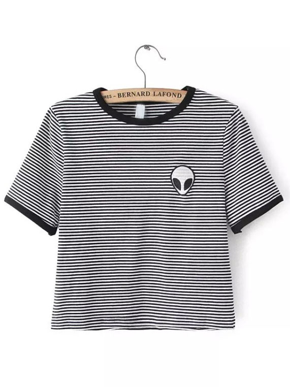 df12e4f7e5 Black White Crew Neck Striped Alien Print Crop T-Shirt -SheIn(Sheinside)