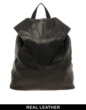 ASOS   ASOS Leather Backpack With Pointed Flap at ASOS