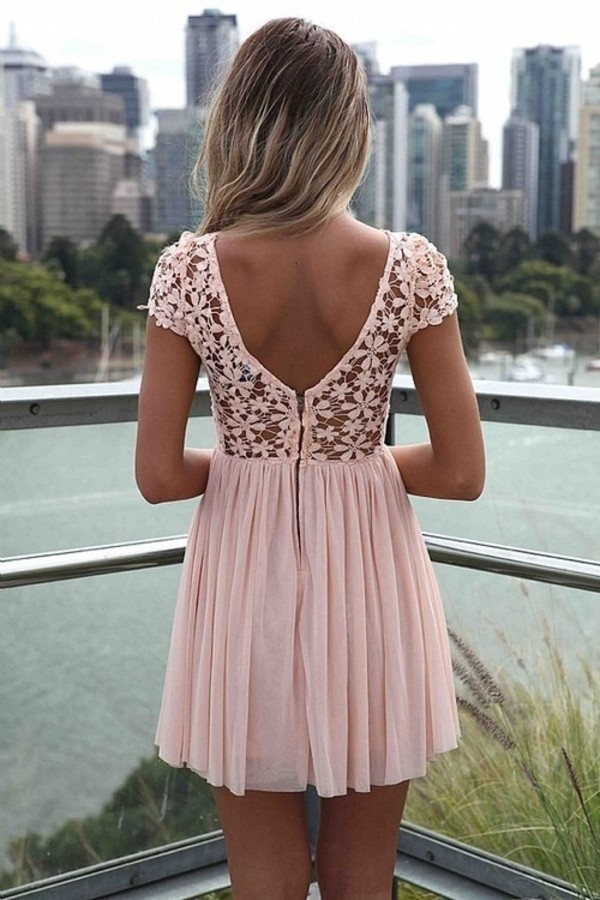 pink dress lace dress soft pink low back floral dress mini dress pink summer dress summer outfits pastel dress pastel dress white dentelle bag light pink flower pattern summer flowers cute