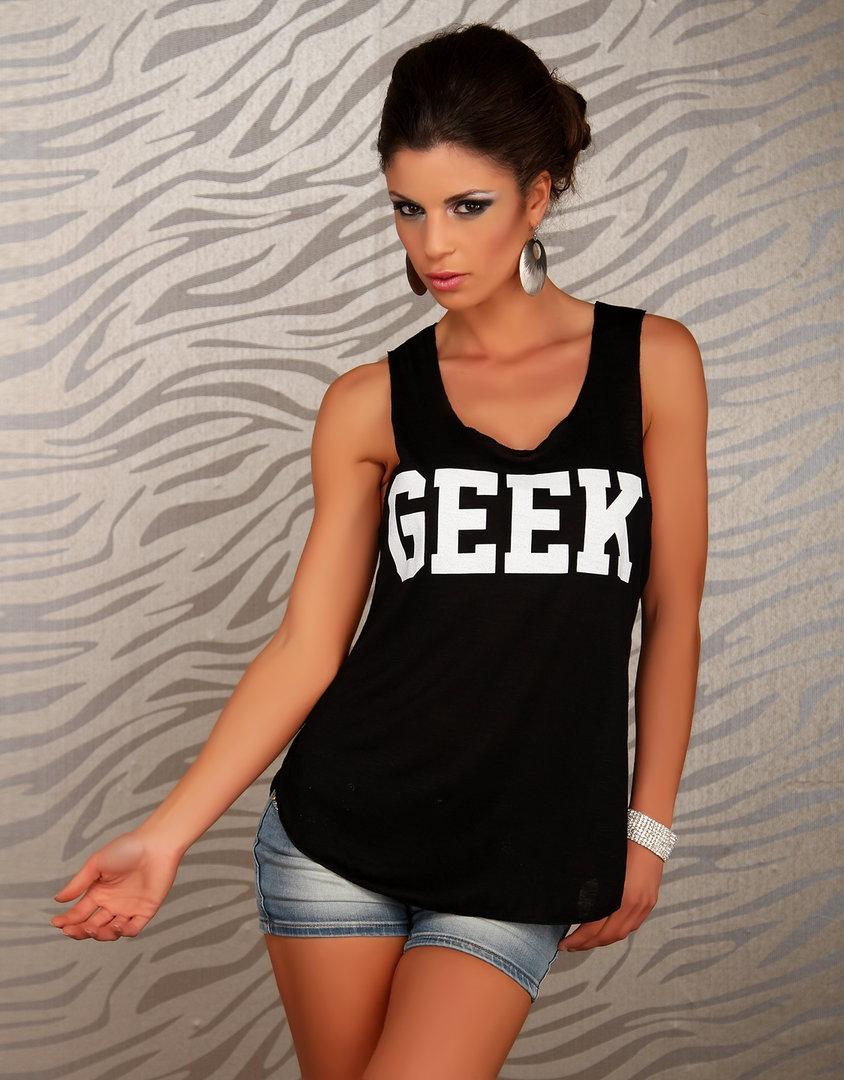 stylisches trendy tanktop shirt nerd geek schwarz wei. Black Bedroom Furniture Sets. Home Design Ideas