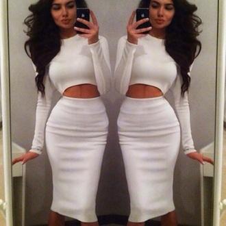 dress white crop tops white skirt