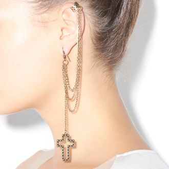 jewels cross earing cuff cross earring