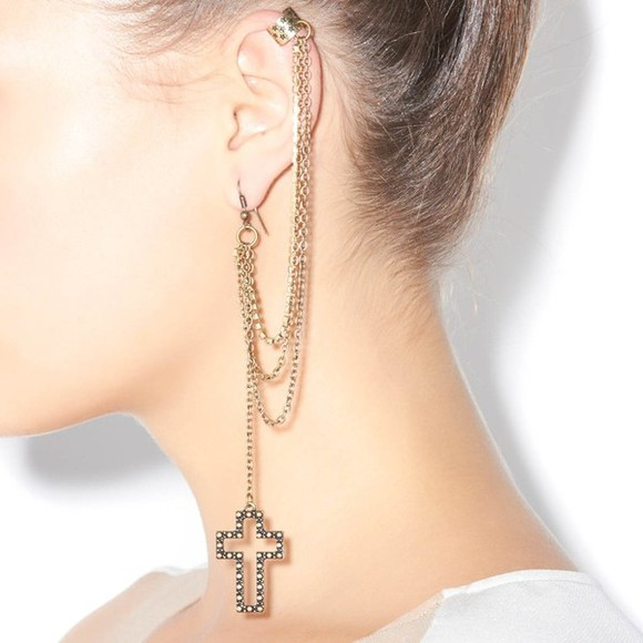 cross earring jewels cross earing cuff