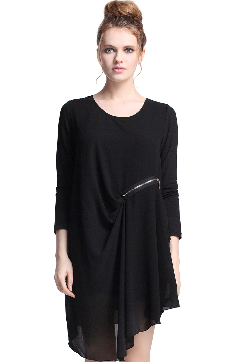 Romwe Asymmetric Fake Double Layers Black Dress The