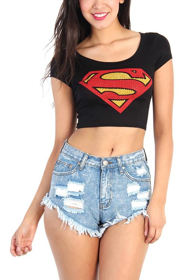 top superman shirt superman black crop top