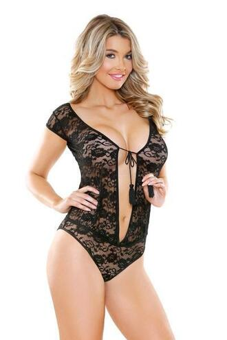 jumpsuit bodysuit black lace comfortable cap sleeves flirty tassel ties cheeky lace bottoms fantasy lingerie bikiniluxe