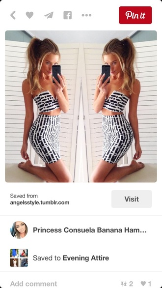 dress two-piece black and white outfit pattern top skirt crop tops midi skirt bodycon dress bodycon bodycon skirt