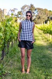 thank fifi,blogger,top,gingham,shorts