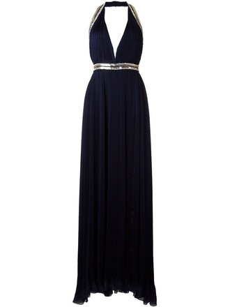 gown pleated embellished blue dress