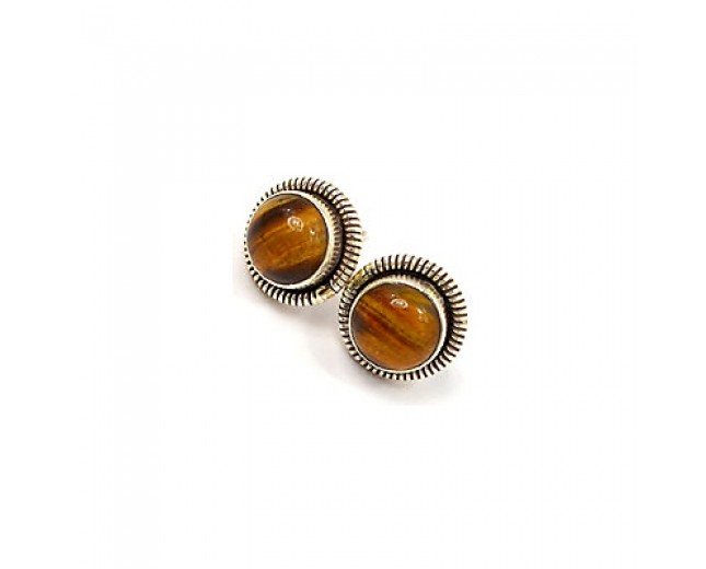 Awesome 925 sterling silver Tiger Eye Stud