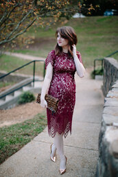 polishedclosets,blogger,dress,shoes,bag,jewels,lace dress,clutch,animal print bag,maternity dress,maternity,burgundy dress,metallic shoes,high heel pumps