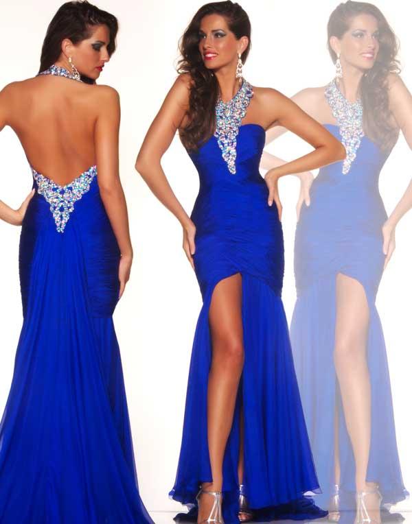 Halter royal blue mermaid formal eevning dress backless clubwear pageant custom