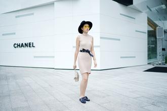 olivia lazuardy blogger hat sunglasses dress belt bag shoes nude dress loafers felt hat