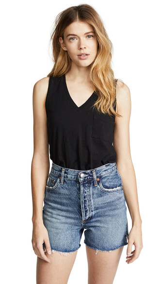 v neck cotton black top
