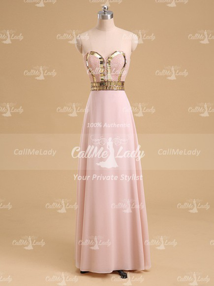 long dress prom dress evening dress pearl pink prom dress prom