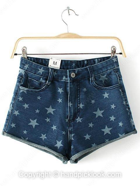 Dark Blue Five-pointed Star Print Denim Skinny Shorts - HandpickLook.com