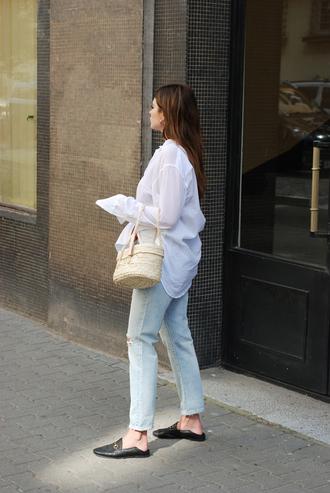 shirt tumblr white shirt denim jeans blue jeans loafers gucci loafers bag basket bag shoes