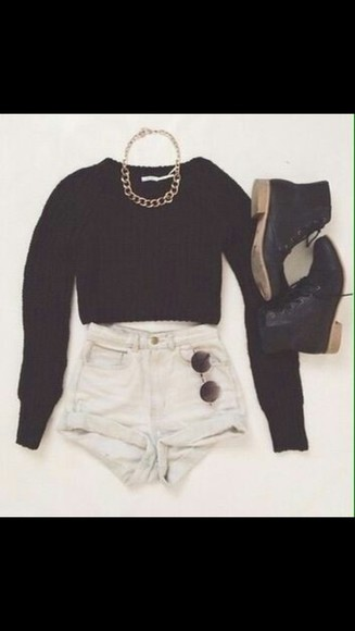 knitwear black croptop