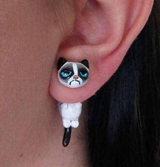 jewels earrings cute grumpy cat