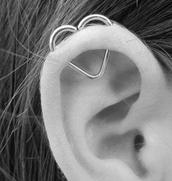 jewels,ear,heart,earrings,bag,heart earrings,helix piercing