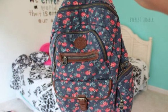 floral bag rucksack backpack school bag black, brown, pink