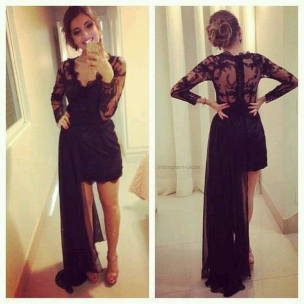 dress lace dress black dress sexy back prom dress mini dress