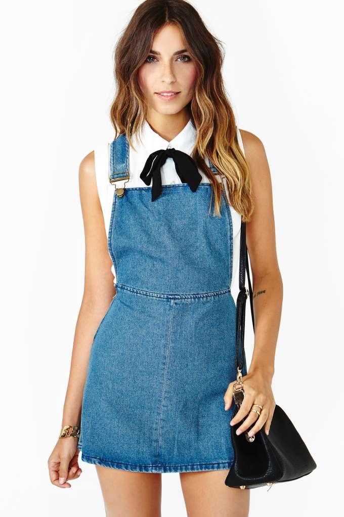 Teen Dream Denim Jumper in Lookbooks Too Cool For School Dresses at Nasty Gal