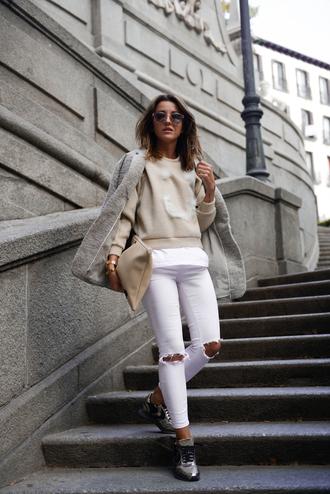 lovely pepa blogger shoes jeans sweater bag sunglasses coat