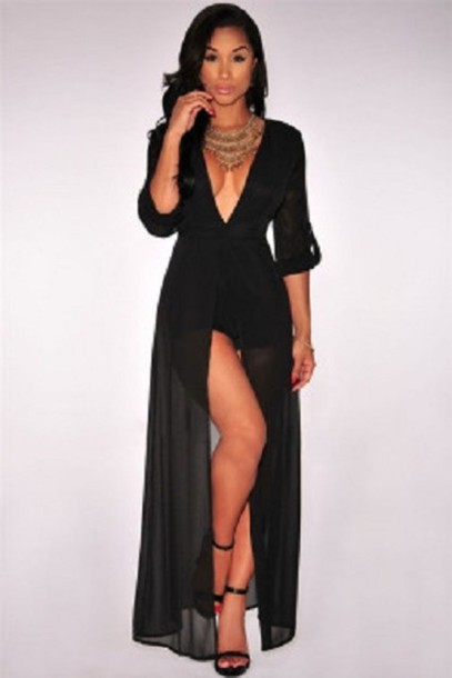 24326e9876a2 romper dress black summer romper suit romper cheeky chic classy pretty  chiffon lace elegant beach summer