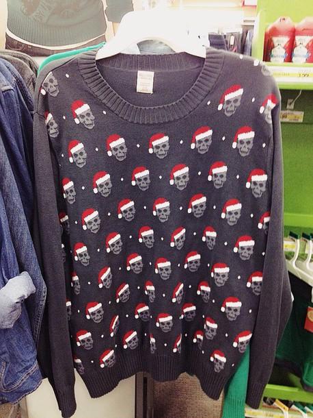 Sweater: christmas sweater, santa skull, skull sweater, santa ...