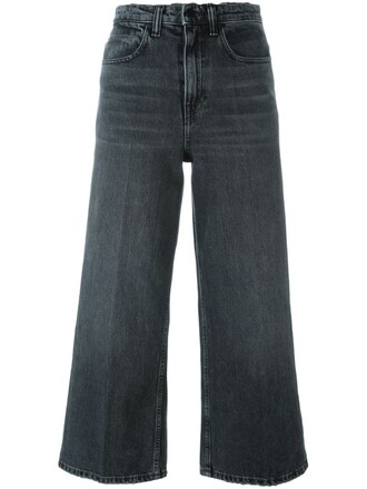jeans cropped women cotton grey
