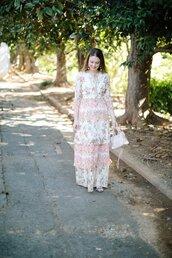 polishedclosets,blogger,dress,jewels,bag,shoes,handbag,maxi dress,summer outfits,floral dress