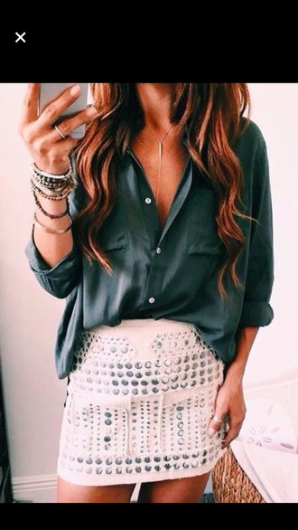 shirt green blouse forest green hipster skirt studs white