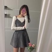 dress,grey dress,kawaii skirt,kawaii girl,kawaii dress,grid dress,korean dress,korean street style,korean fashion shop,korean fashion